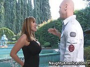 Ava Devine just moved into a new neighborhood and wants to check out Johnny Sinns' house.  She's so turned on by how big everything is and how the fountain squirts that she's putting the moves on him.  It turns out that she wants to suck his cock and fuck