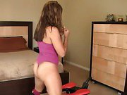 Wifes rides her monkey rocker while sucking hubby's big cock.