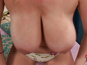 Horny busty Sophie Mei stripping