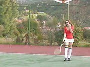 Dani Daniels spreads her pink on the tennis court.